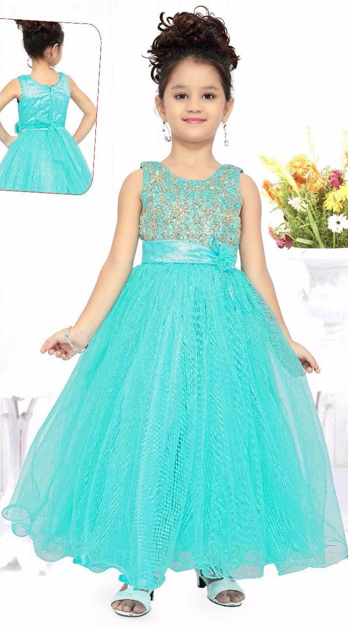 Pretty Sky Blue Readymade Princess Kids Gown DT51042