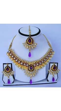 Pretty Stone Work Golden Plated Necklace Set With Tika N61399