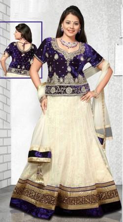 Pretty White And Dark Blue Net Wedding Lehenga Choli DT92639