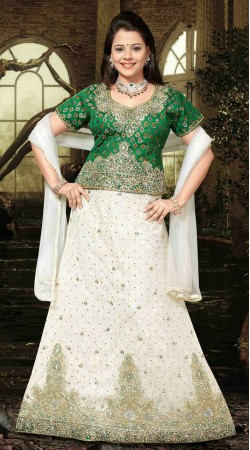 Pretty White And Green Net Embroidered Wedding Lehenga Choli DT91339