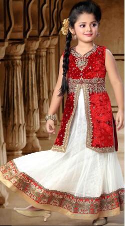 Pretty White And Red Net Readymade Kids Long Choli Lehenga DT302441