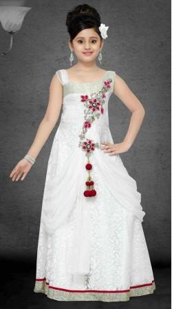 Pretty White Brasso Net Designer Readymade Kids Gown DT301741
