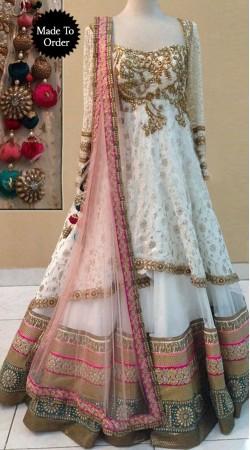 Pretty White Premium Fabric Designer Replica Floor Length Anarkali Suit BP1508