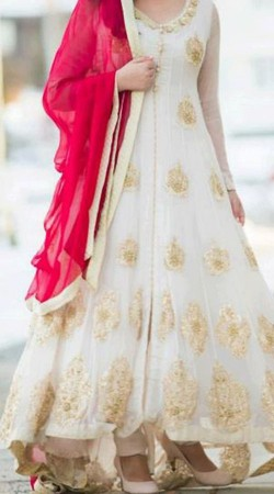 Pretty White Premium Fabric Replica Ankle Length Anarkali Suit BP0804