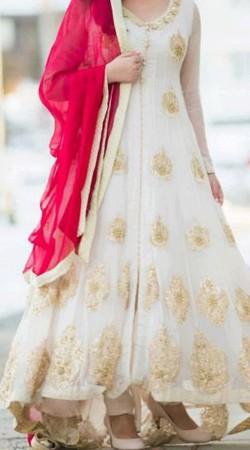 Pretty White Premium Fabric Replica Ankle Length Anarkali Suit BP0804