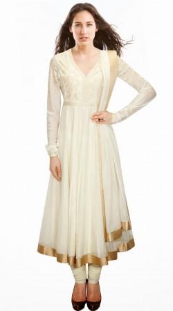 Pretty White Silk Golden Border Exclusive Salwar Kameez With Dupatta SUMA3609