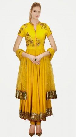 Pretty Yellow Silk Golden Border Party Wear Salwar Kameez SUMA4709