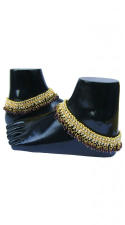 Pretty Zircon Gold Plated And Purple Moti Designer Anklet For Women N72998