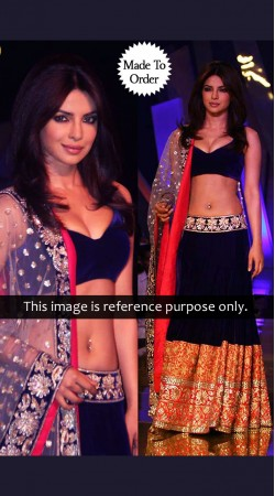 Priyanka Chopra Dark Blue Bollywood Replica Lehenga Choli TN210501