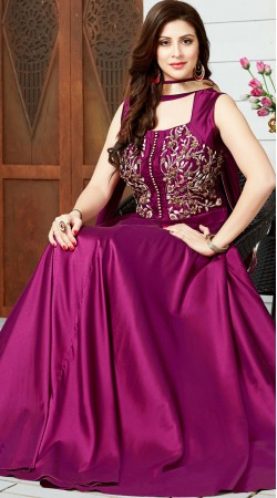 Purple Art Silk Ready Made Salwar Kameez For Party 2WV800117