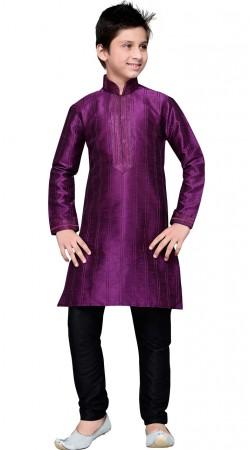 Purple Art Silk Thread Work Kid Boy Kurta Pajama GR13510