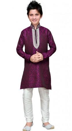Purple Brocade Kid Boy Kurta Pajama GR18814