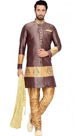 Purple Brocade Party Wear Indo Western Sherwani For Men GR144009