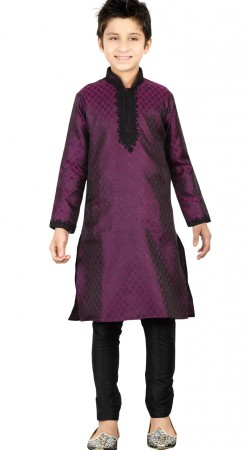 Purple Brocket Kid Boy Kurta With Churidar Bottom GR24813