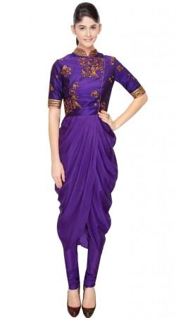 Purple Crepe sillk And Dupion Designer Salwar Kameez SUUDS31604