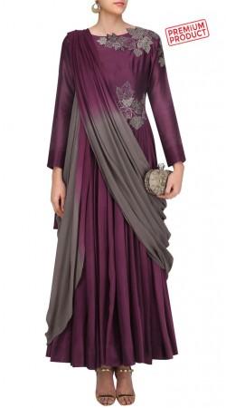 Purple Designer Ankle Length Anarkali Suit SUMS28621