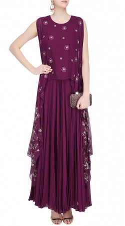Purple Georgette Designer Floor Length Kameez With Attached Cape SUUDS41320