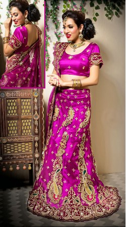Purple Net Emboridered Semi Bridal Lehenga Choli With Dupatta LD00105