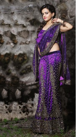 Purple Net Lehenga Choli LD005603