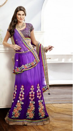 Purple Net Lehenga Choli MS313706