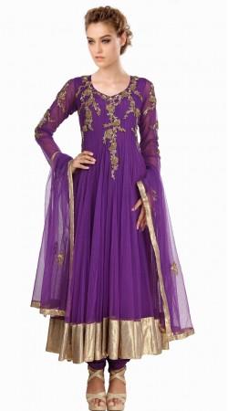 Purple Net Silver Border Party Wear Salwar Kameez With Dupatta SU20411