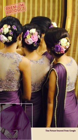 Purple Silk Bridesmaid Saree With Designer Blouse BP0841
