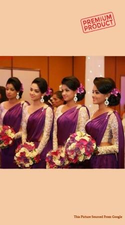 Purple Satin Designer Blouse Saree For Bridesmaid BP0641