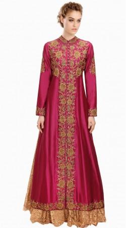 Purplish Magenta Silk Floral Embroidered Party Wear Salwar Kameez SUMA3109