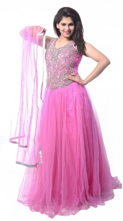 Purplish Pink Net Long Indowestern Gown LD4304