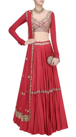 Quintessential Crepe Red Designer Lehenga With Full Sleeves Choli SUUDL22619