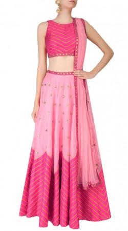 Quintessential Silk Pink Designer Crop Top Lehenga SUUDL17118