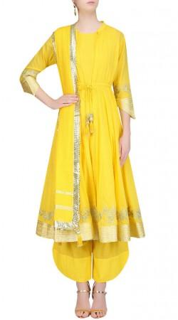 Quintessential Silk Yellow Designer Indowestern Salwar Kameez SUMS25917