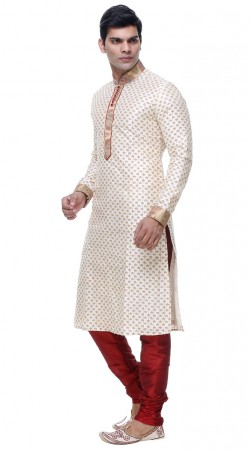 Quintessential White Silk Thread Work Mens Kurta With Churidar GR134405