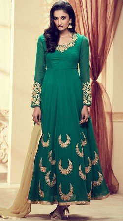 Rama Green Ankle Length Anarkali Suit With Embroidery Work 3YS101262