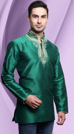 Rama Green Dupian Silk Embroidery Work Neck Men Short Kurta DTDK363
