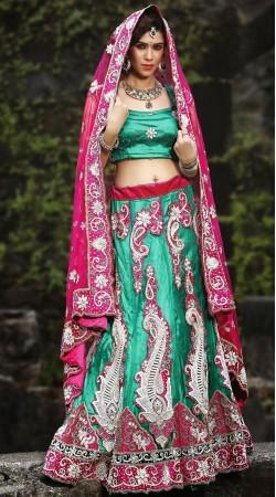 Rama Green Net Lehenga Choli LD004003