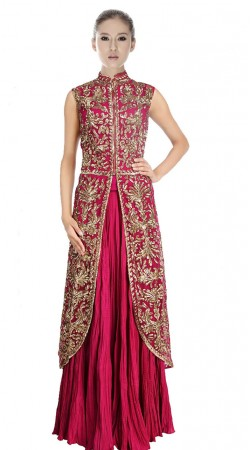 Rani Pink Georgette And Crush Indowestern Dress SU8101