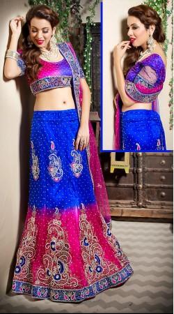 Ravishing Blue And Pink Net Wedding Lehenga Choli With Dupatta LD001905