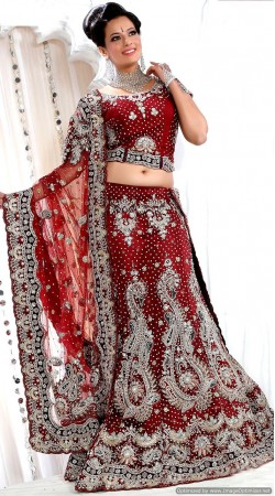 RB326001 Dark Red Bridal Net Lehenga Choli
