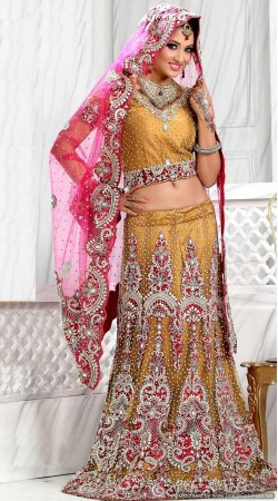 RB326004 Mustard Bridal Net Lehenga Choli