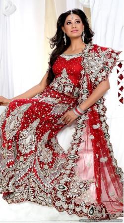 RB326008 Red Bridal Net Lehenga Choli
