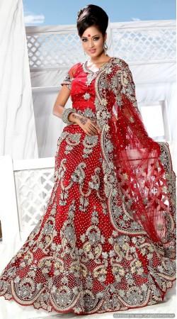 RB326011 Red Bridal Net Lehenga Choli