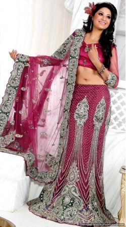 RB326012 Dark Pink Bridal Net Lehenga Choli