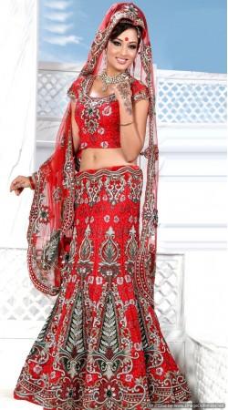 RB326014 Red Bridal Net Lehenga Choli
