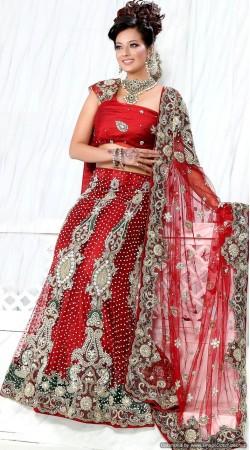 RB326016 Red Bridal Net Lehenga Choli