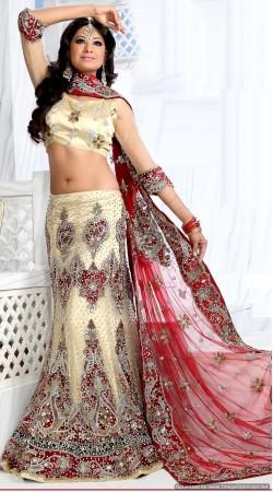 RB326017 Cream Bridal Net Lehenga Choli