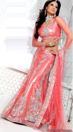 RB326019 Salmon Bridal Net Lehenga Choli