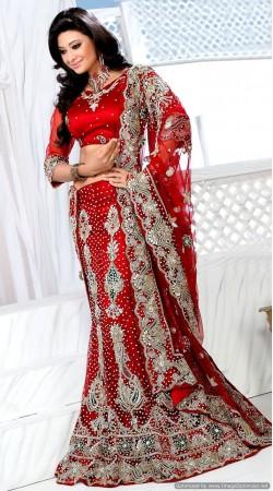 RB326021 Red Bridal Net Lehenga Choli