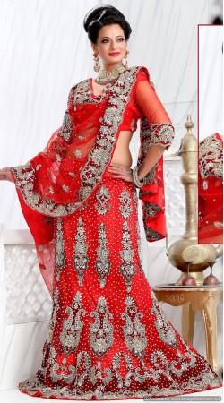 RB326022 Red Bridal Net Lehenga Choli