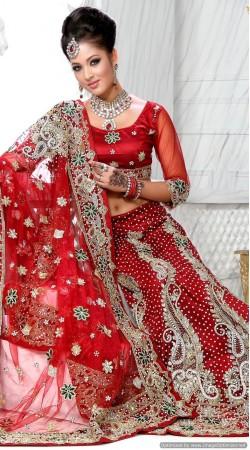 RB326023 Red Bridal Net Lehenga Choli